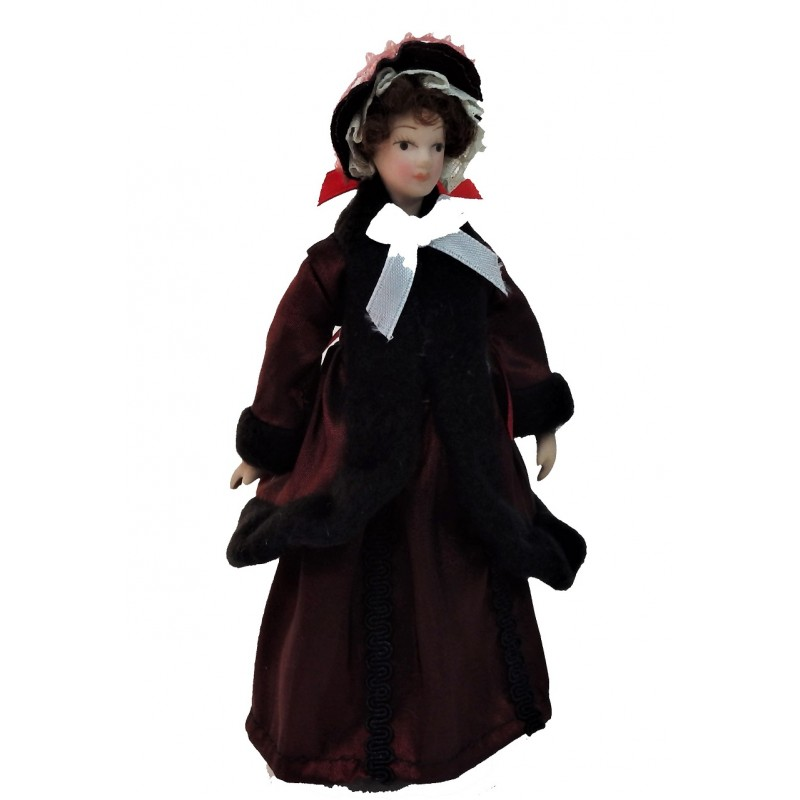 Dolls House Victorian Lady in Red Coat Miniature Porcelain People