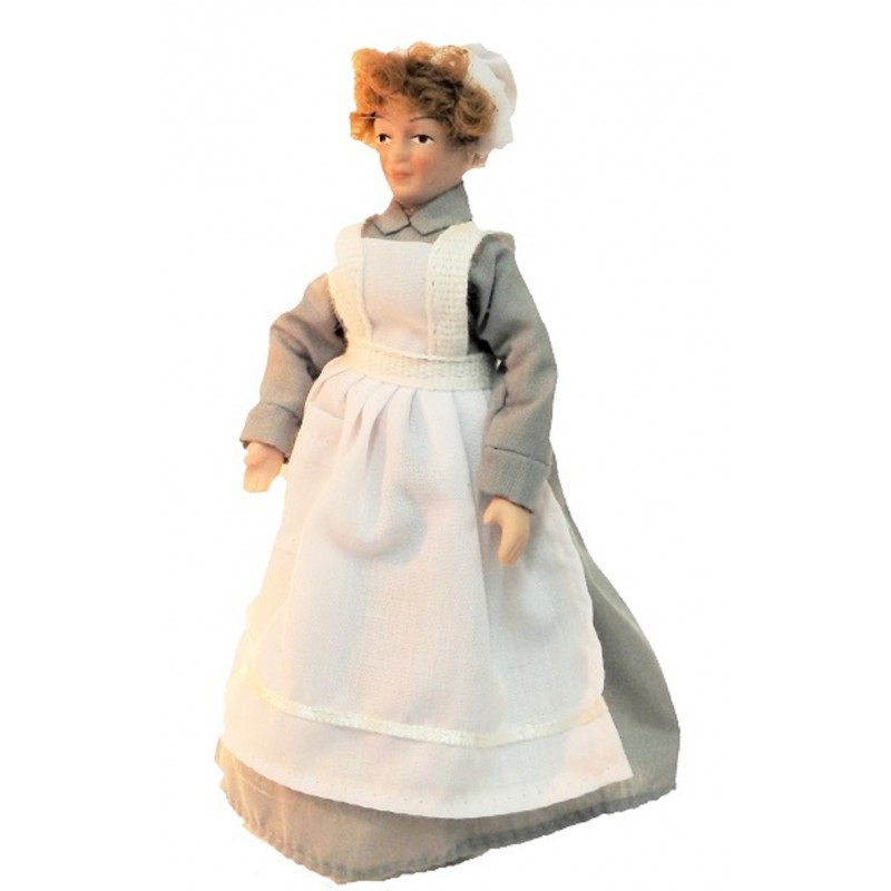 Dolls House Victorian Servant Maid Cook in Grey Porcelain People