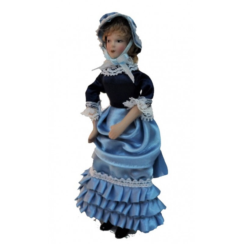 Dolls House Victorian Lady Frilly Dress Miniature Porcelain People