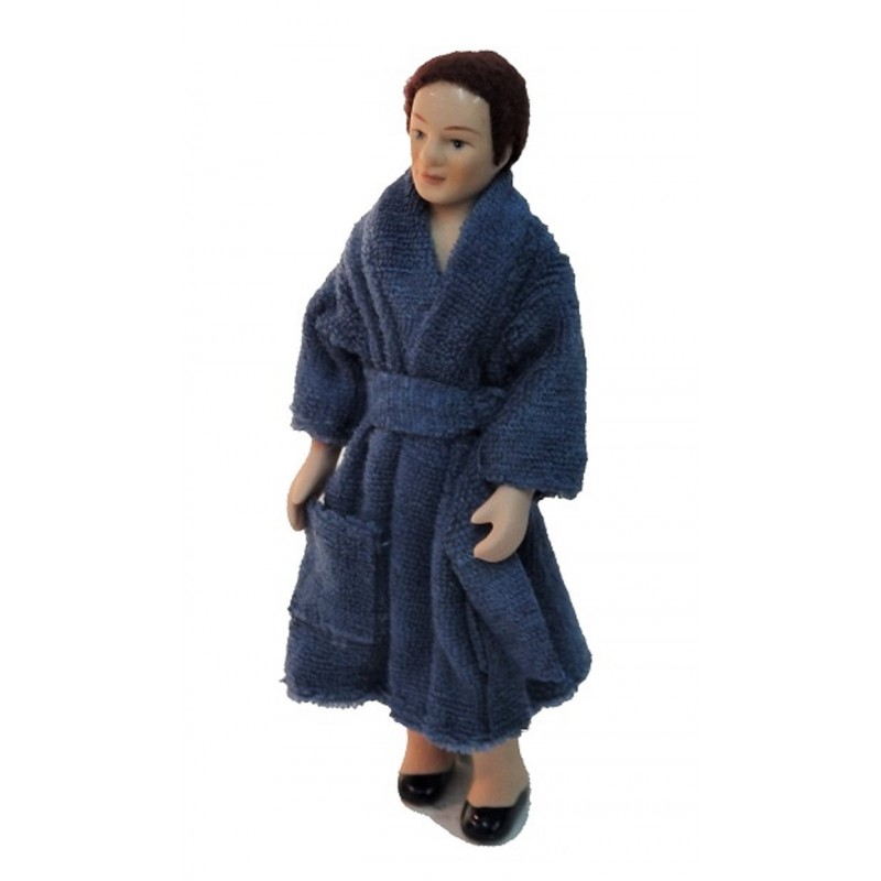 Dolls House Man in Bath Robe Dressing Gown 1:12 Porcelain People