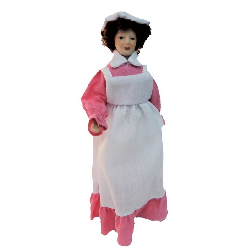 Dolls House Victorian Servant Maid Cook in Pink Porcelain People
