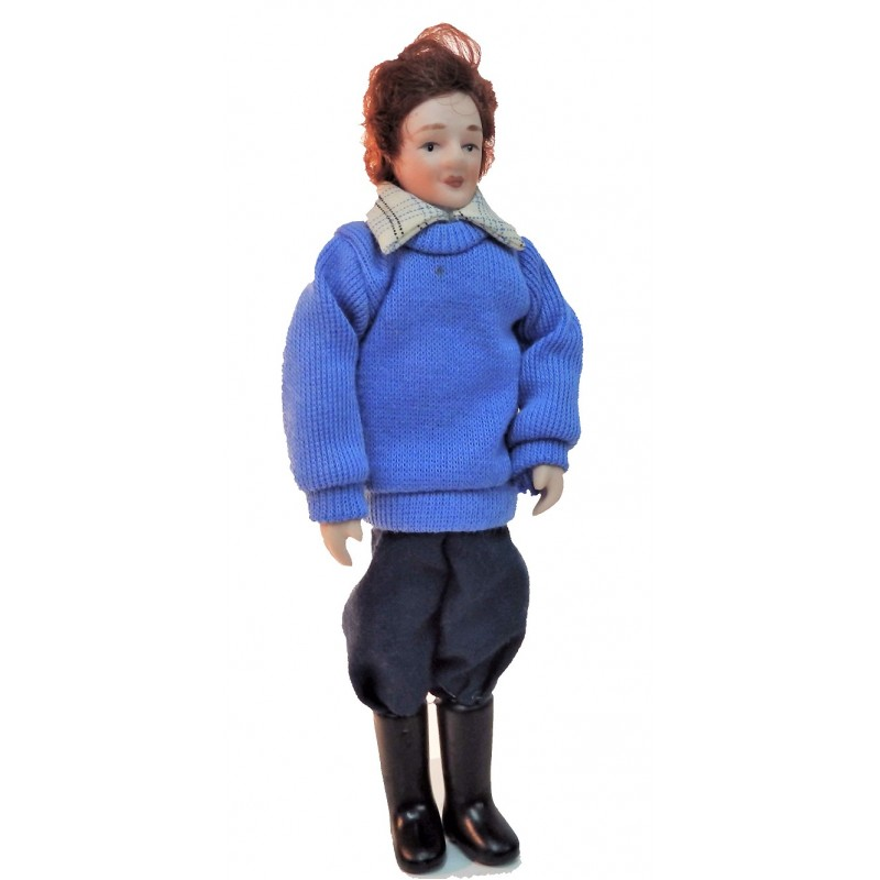 Dolls House Man in Wellington Boots Miniature 1:12 Porcelain People