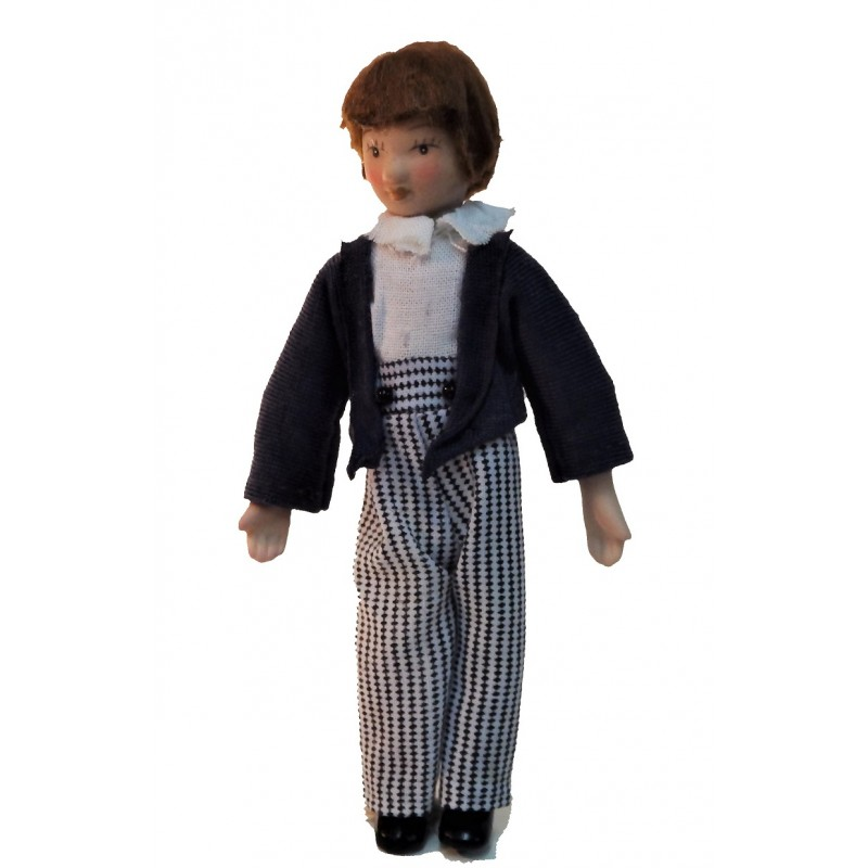 Dolls House Victorian Boy in Stripe Pants Miniature Porcelain People