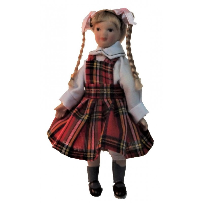Dolls House Girl in Tartan Pinafore Miniature Porcelain 1:12 People