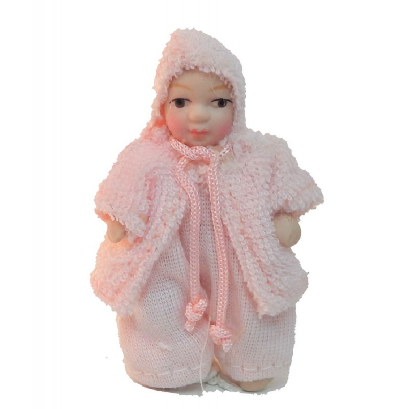 Dolls House Baby Girl in Pink Jacket Miniature 1:12 Porcelain People