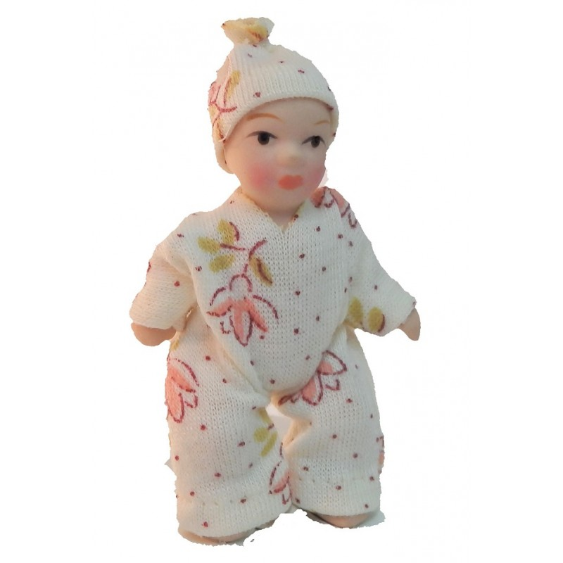 Dolls House Baby Toddler in Spotted Suit Miniature Porcelain People