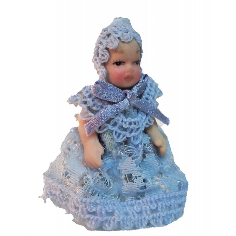 Dolls House Victorian Baby in Blue Lace Miniature Porcelain People
