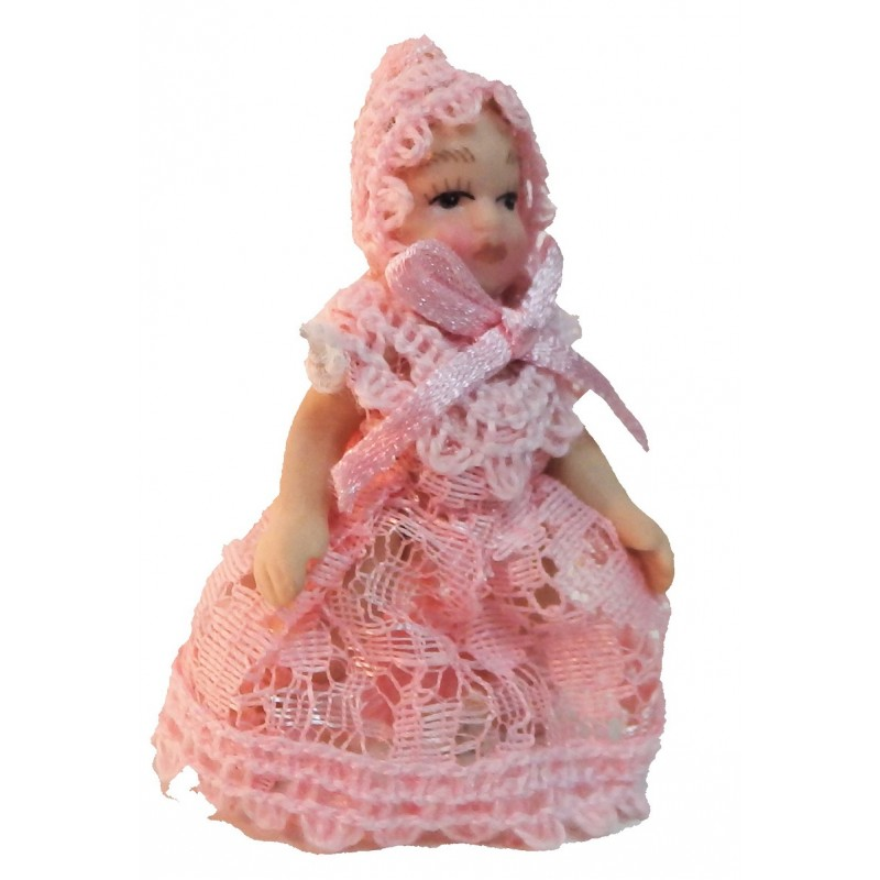 Dolls House Victorian Baby in Pink Lace Miniature Porcelain People