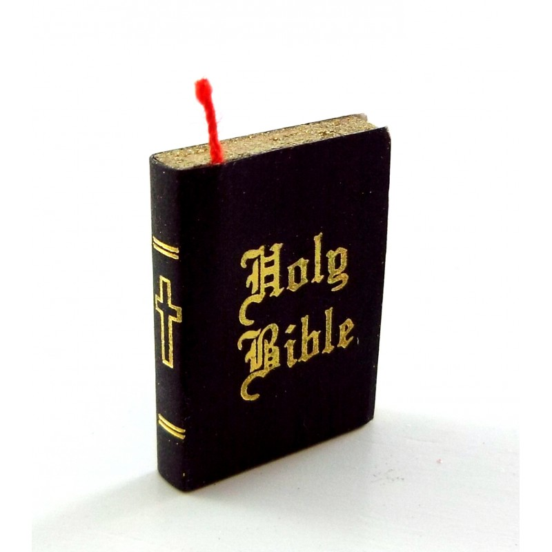 Dolls House Black Book Holy Bible Bedroom Church School Accessory