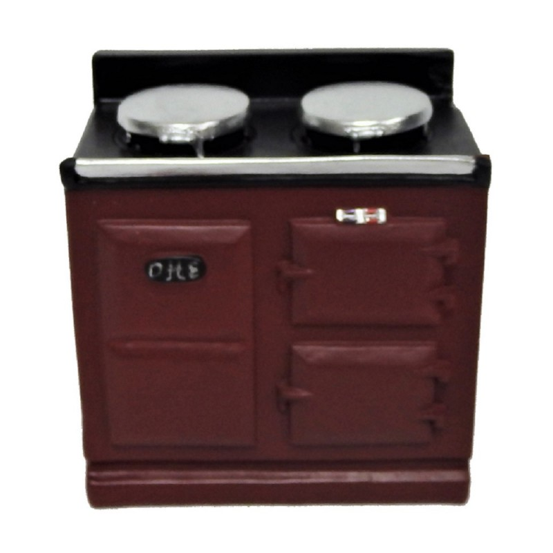 Dolls House 2 Oven Red Aga Stove Cooker Miniature Kitchen Furniture