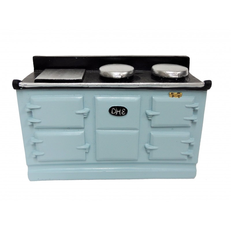 Dolls House 4 Oven Lt Blue Aga Stove Miniature Kitchen Furniture