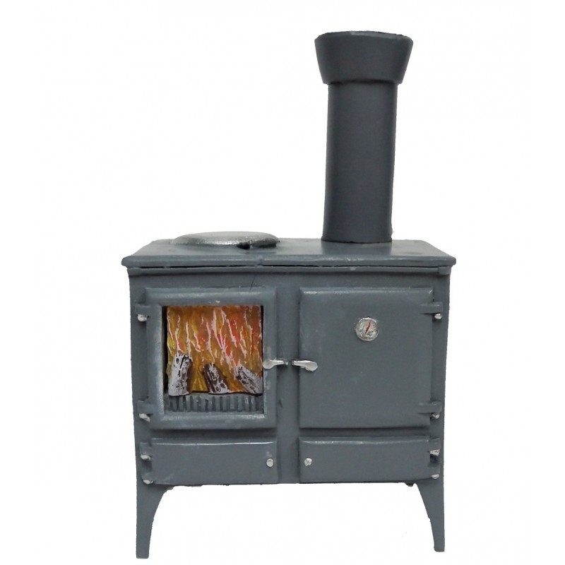 Dolls House Wood Burning Stove Oven Grey Miniature Kitchen Furniture