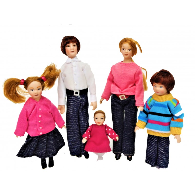 Dolls House Modern Casual Family Miniature Porcelain People Figures