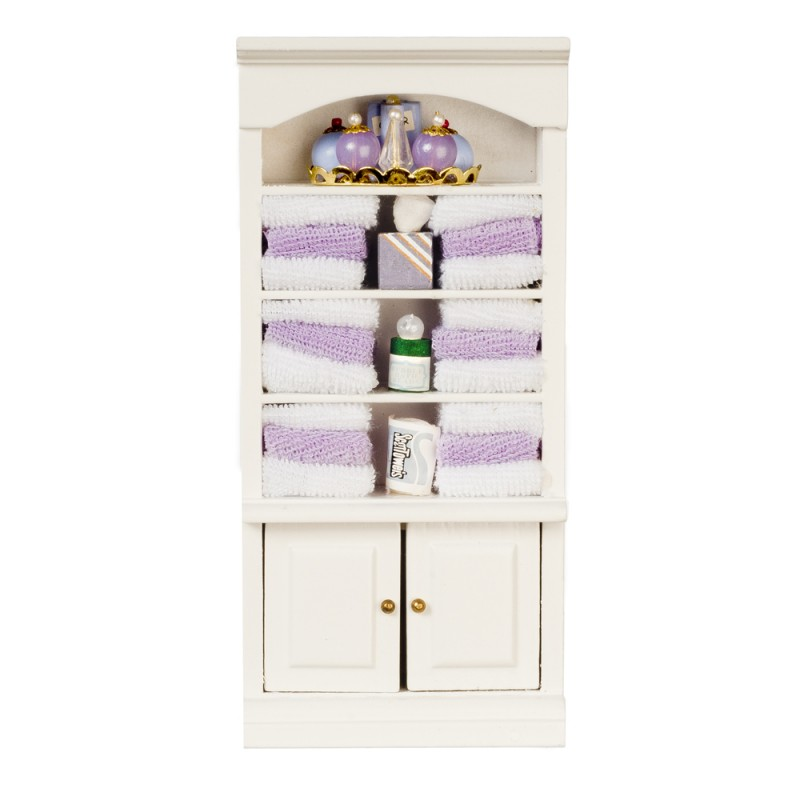 Dolls House Shelf Unit with Lilac Accessories Bathroom Furniture