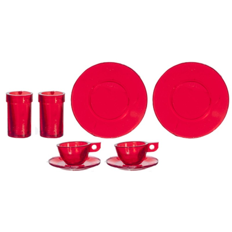 Dolls House Red Dinner Set 2 Chrysnbon Miniature Dining Accessory