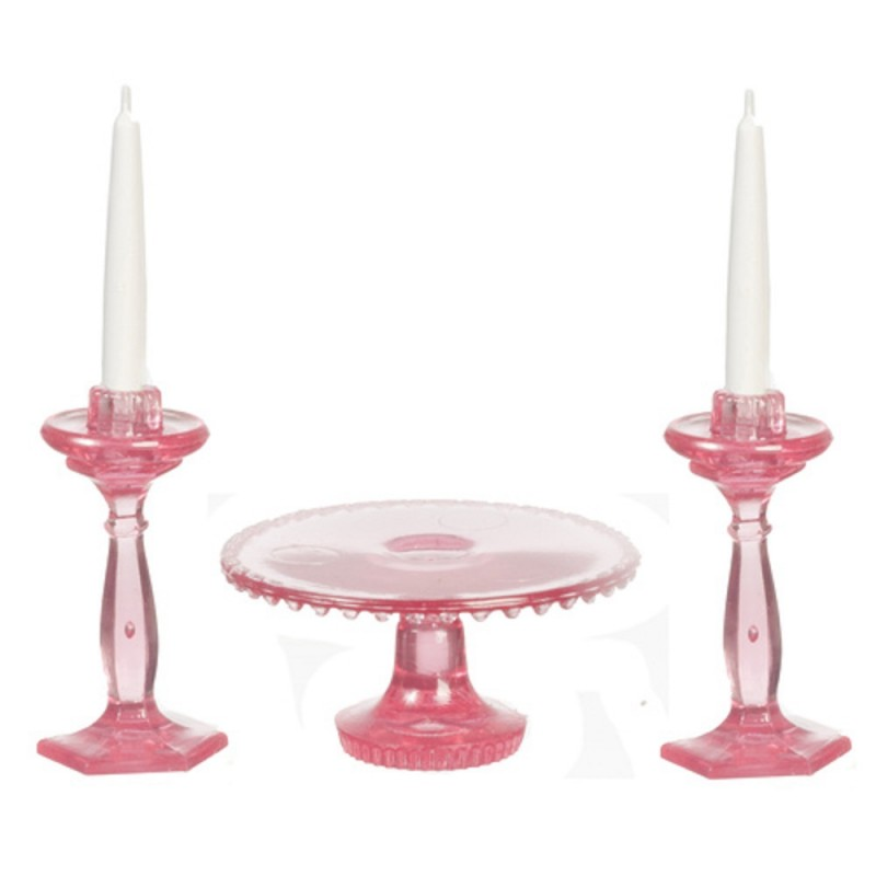 Dolls House Pink Cake Stand & Candlesticks Dining Room Accessory