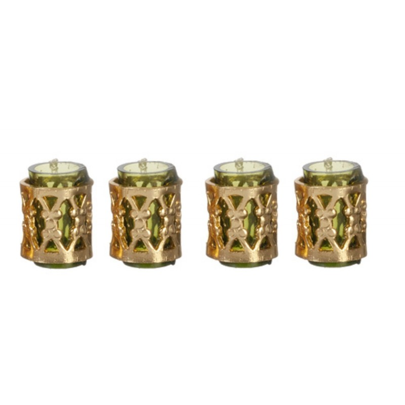 Dolls House Green Tumblers with Fillagree Dining Room Accessory