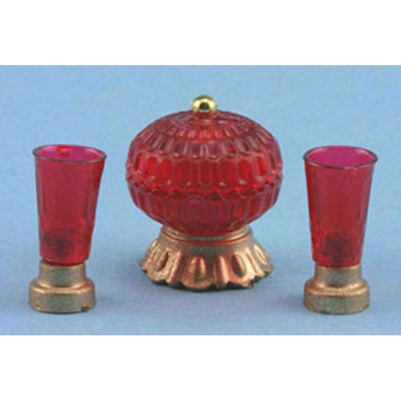 Dolls House Red Dish & Vases Miniature Chrysnbon Ornaments Accessory