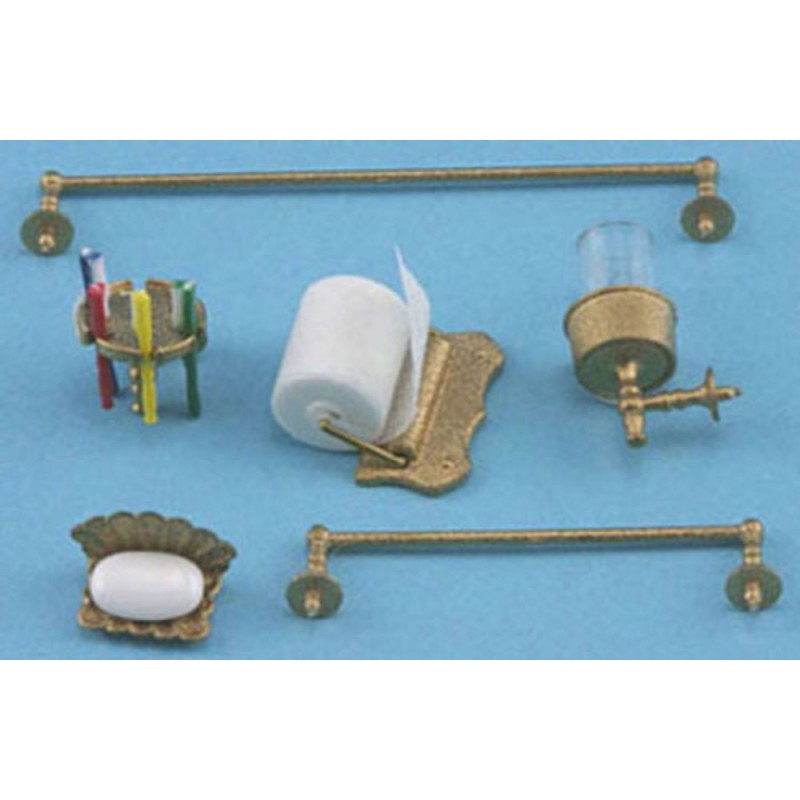 Dolls House Bathroom Accessory Set Gold Chrysnbon 1:12 Scale