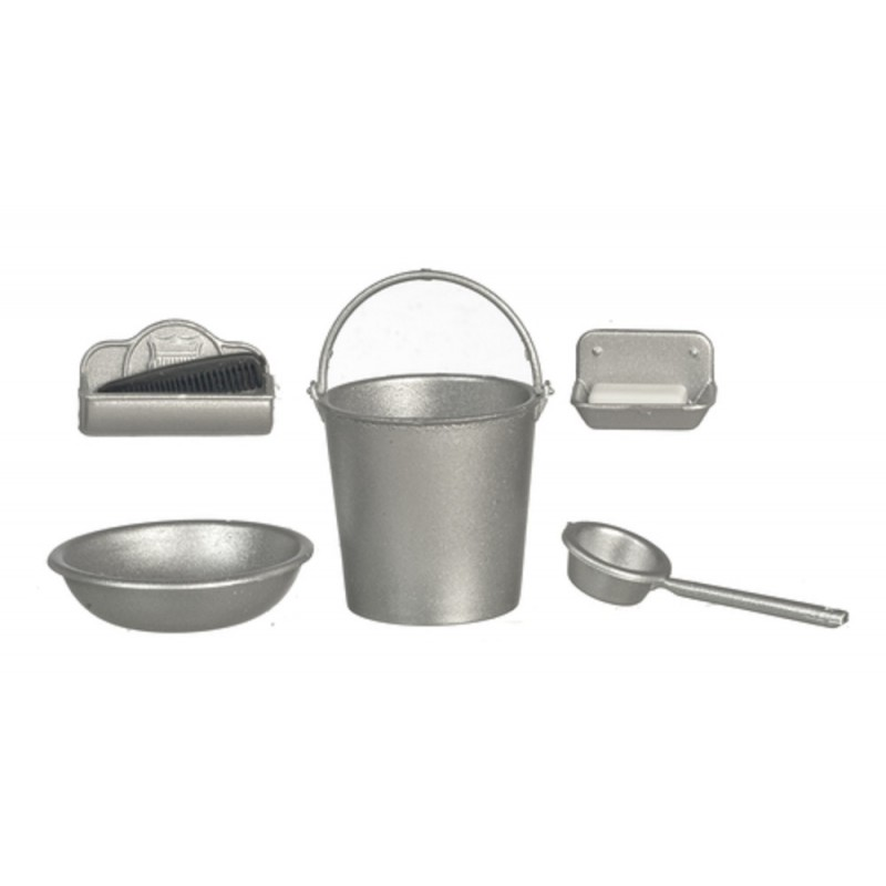 Dolls House Rustic Silver Kitchen Washing Accessory Set Chrysnbon