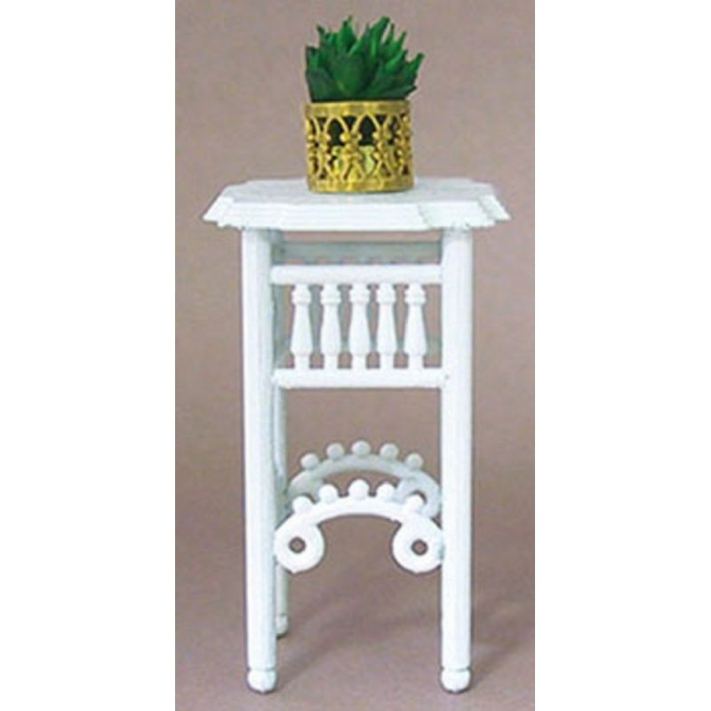 Dolls House White Plant Stand with Plant in Pot Miniature Furniture