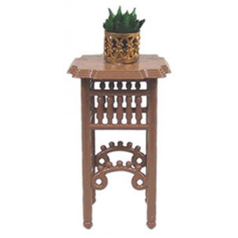 Dolls House Brown Plant Stand with Plant in Pot Miniature Furniture