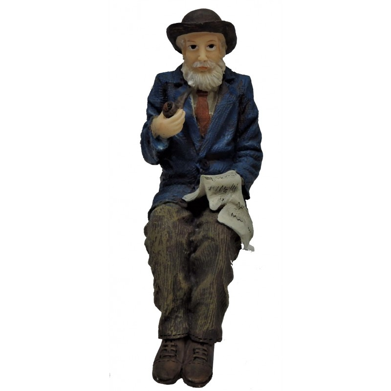 Dolls House Old Man with Pipe Sitting 1:12 People Resin Figure