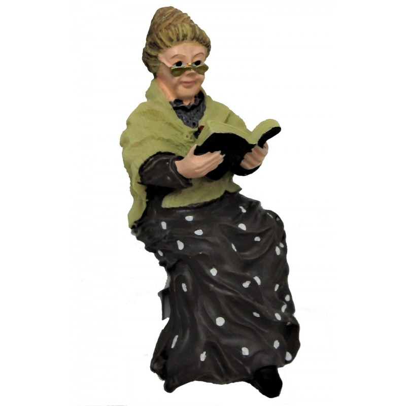 Dolls House Old Lady Sitting with Book 1:12 People Resin Figure