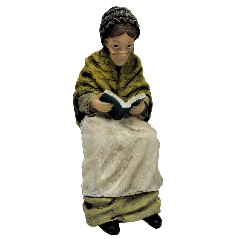 Dolls House Victorian Old Lady Sitting Reading People Resin Figure