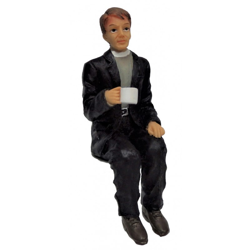 Dolls House Clergyman Minister Sitting with Cup of Tea Resin People