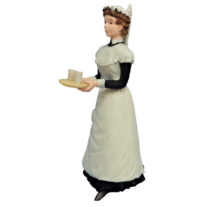 Dolls House People Victorian Maid with Drinks on Tray Resin Figure