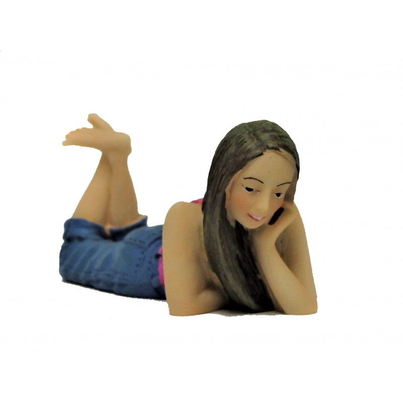 Dolls House People Young Girl Lying Down Chin on Hand Resin Figure