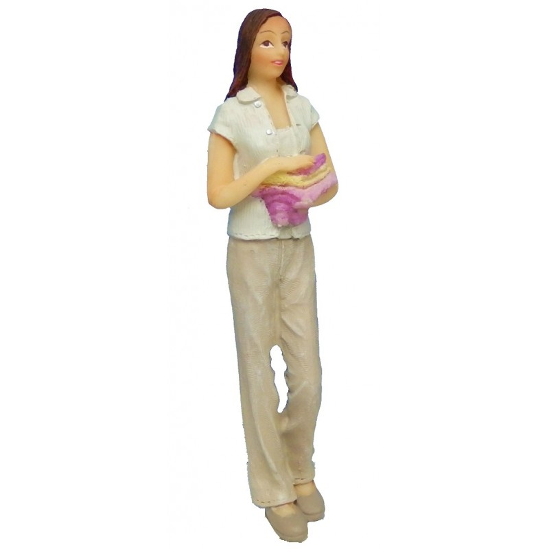 Dolls House People Modern Woman Carrying Towels 1:12 Resin Figure