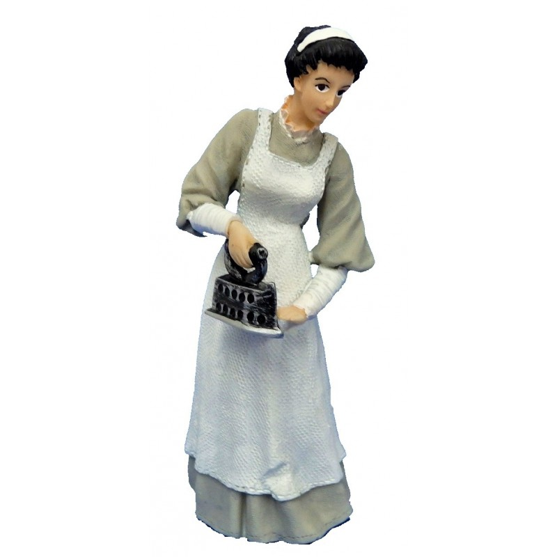 Dolls House People Victorian Maid in Grey Ironing 1:12 Resin Figure