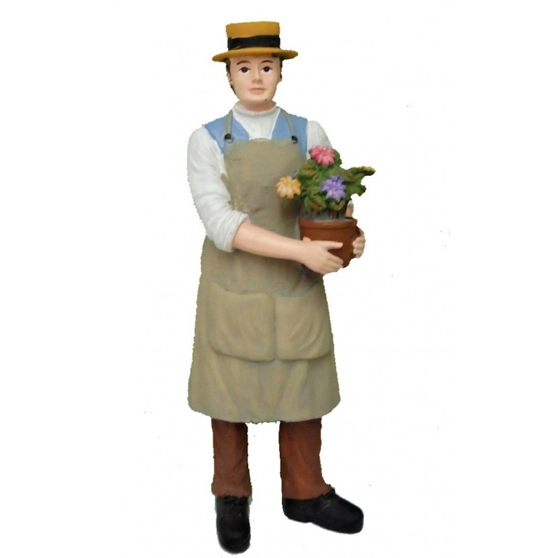 Dolls House People Man with Flowers in Pot Gardener Resin Figure