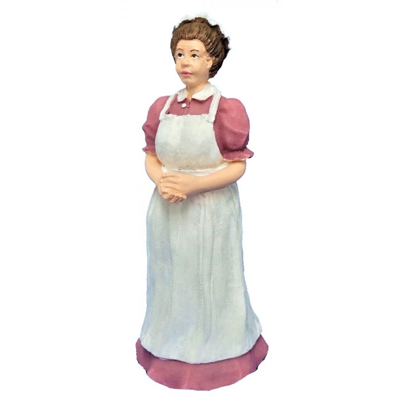 Dolls House People Victorian Cook Maid in Pink Resin Servant Figure