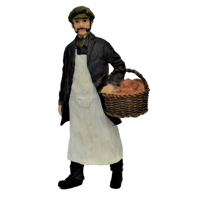Dolls House People Baker with Basket of Fresh Bread Resin Figure