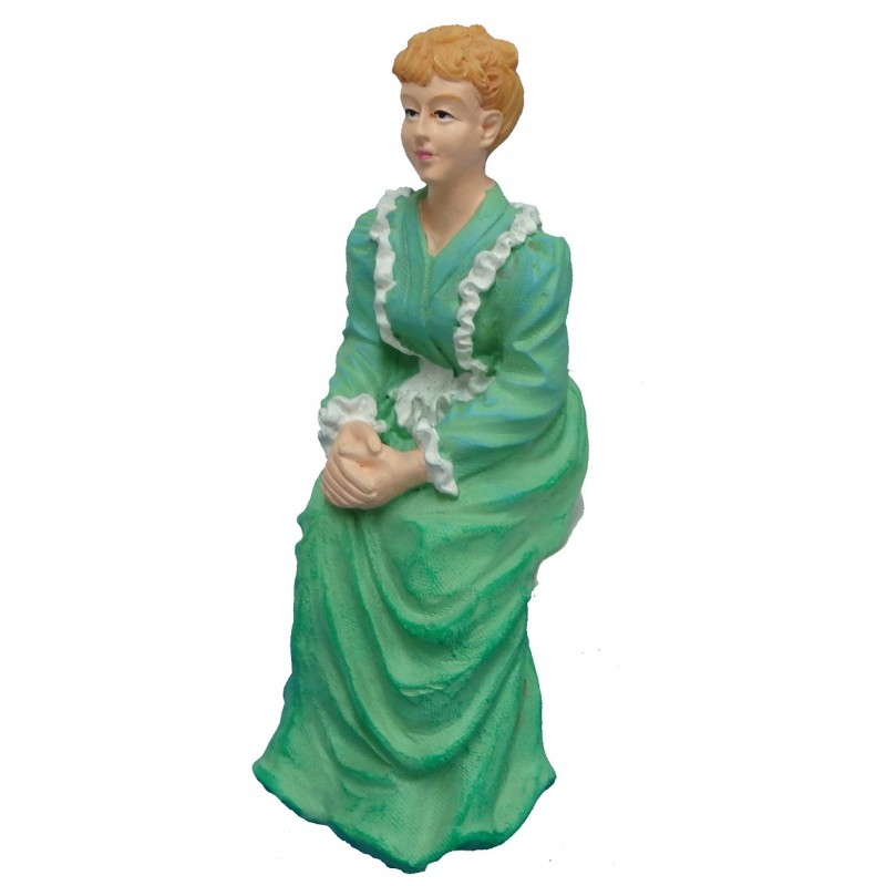 Dolls House People Victorian Lady in Green Sitting Resin Figure