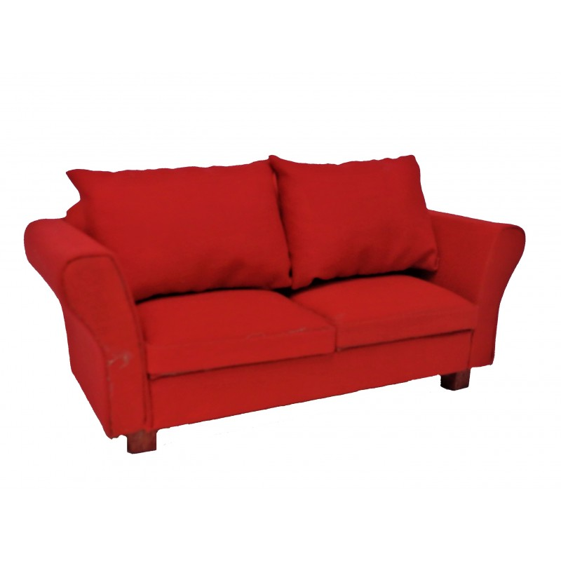 Dolls House Modern Red Sofa with Cushions 1:12 Living Room Furniture