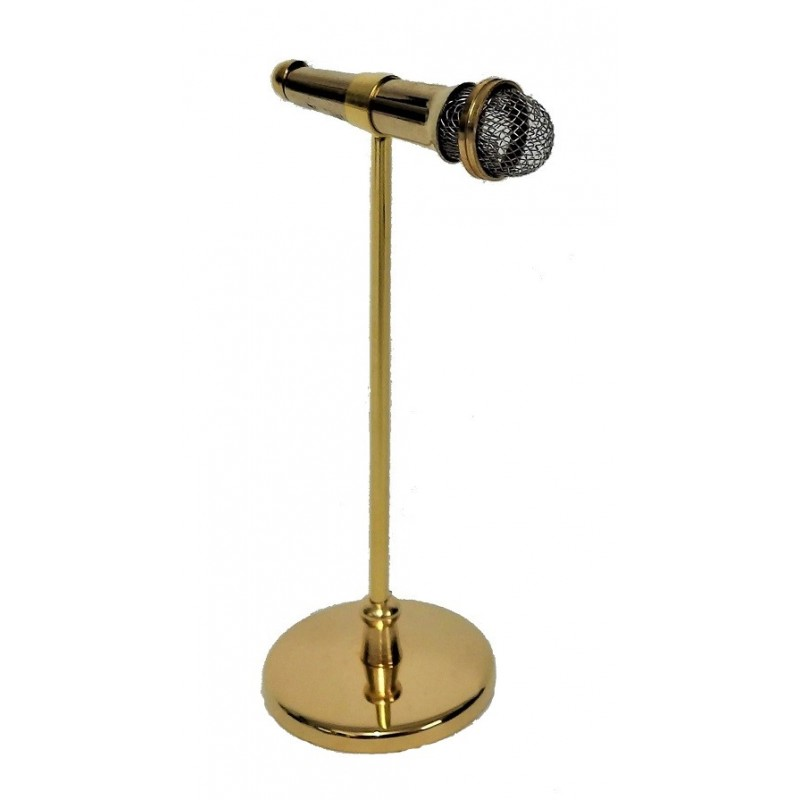 Dolls House Microphone on Stand Miniature Music Room Pub Accessory
