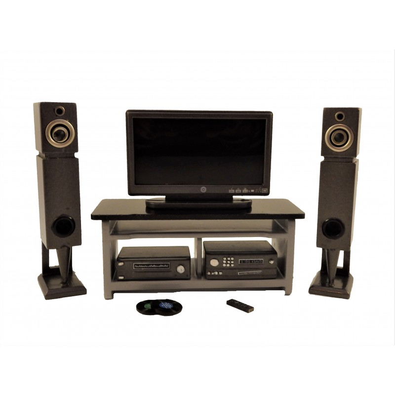 Dolls House Modern Silver Grey Entertainment Centre TV DVD Speakers