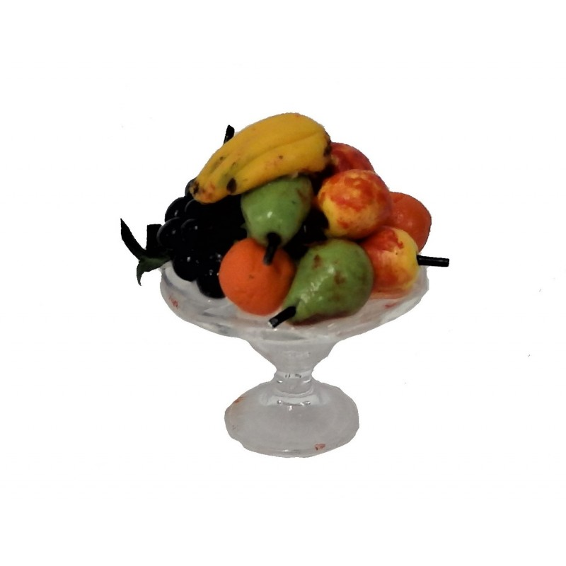 Dolls House Fruit in Glass Bowl on Stand Miniature 1:12 Accessory