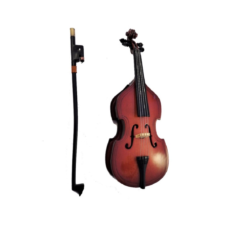Dolls House Double Bass & Bow Miniature Music Room Instrument 1:12