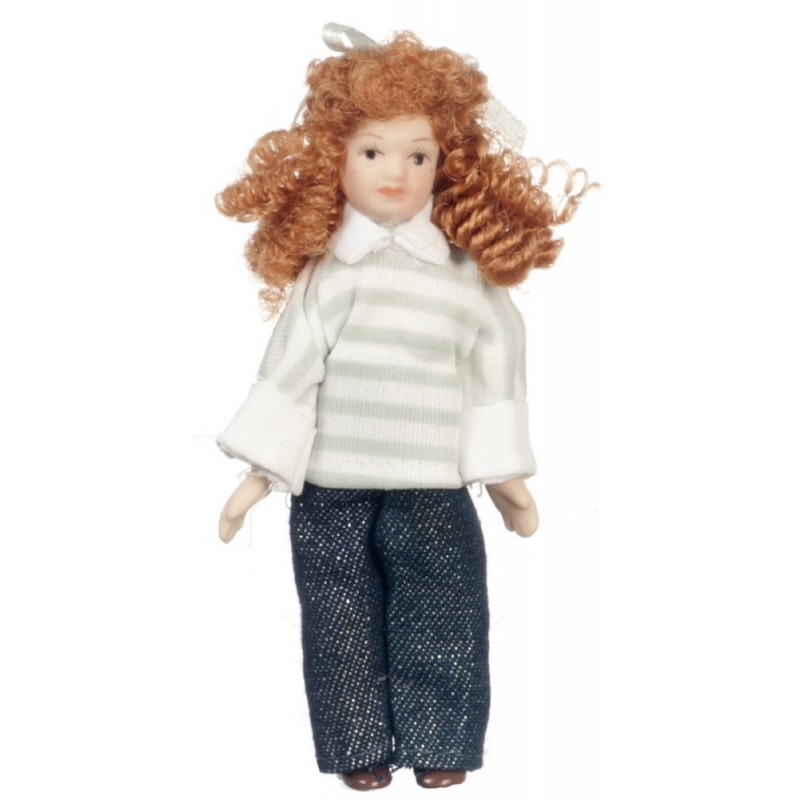 Dolls House Modern Girl in Jeans Miniature Porcelain People Figure