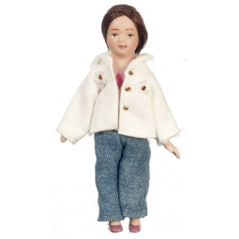 Dolls House Modern Girl Long Hair  Miniature Porcelain People 1:12