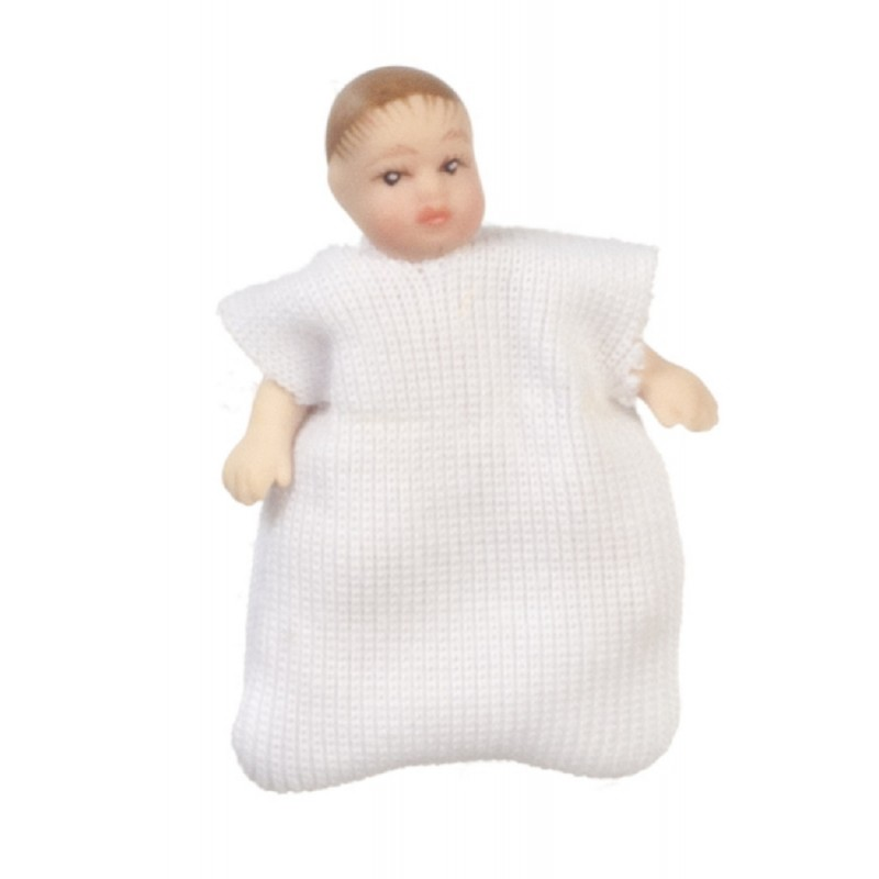 Dolls House Baby in Sleep Bag White Miniature Porcelain People 1:12