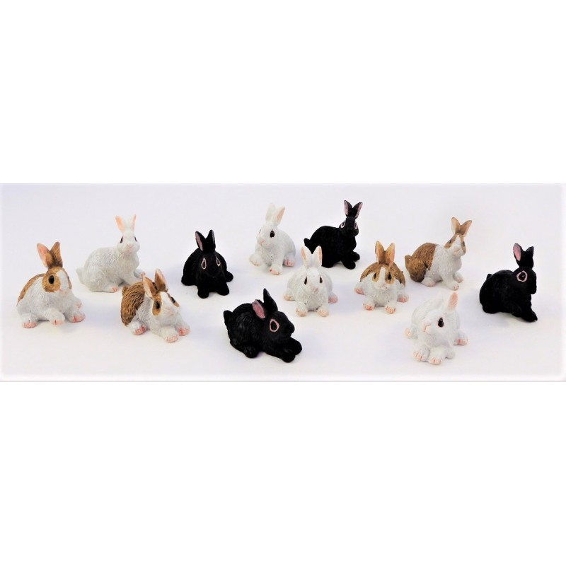 Dolls House 12 Rabbits Miniature Pet Animal Garden Accessory 1:12