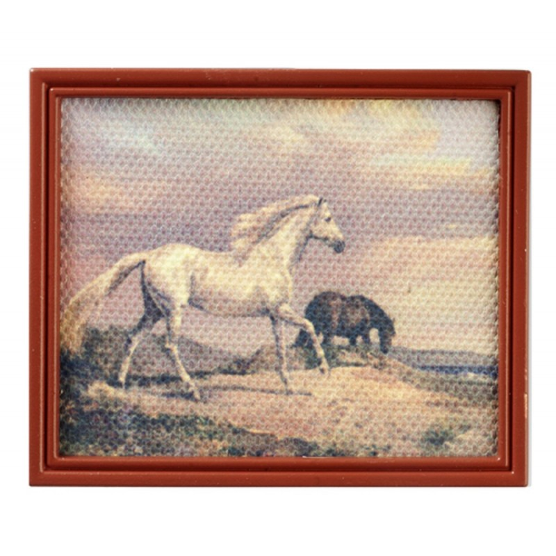 Dolls House Horses Picture Painting Brown Frame Miniature Accessory