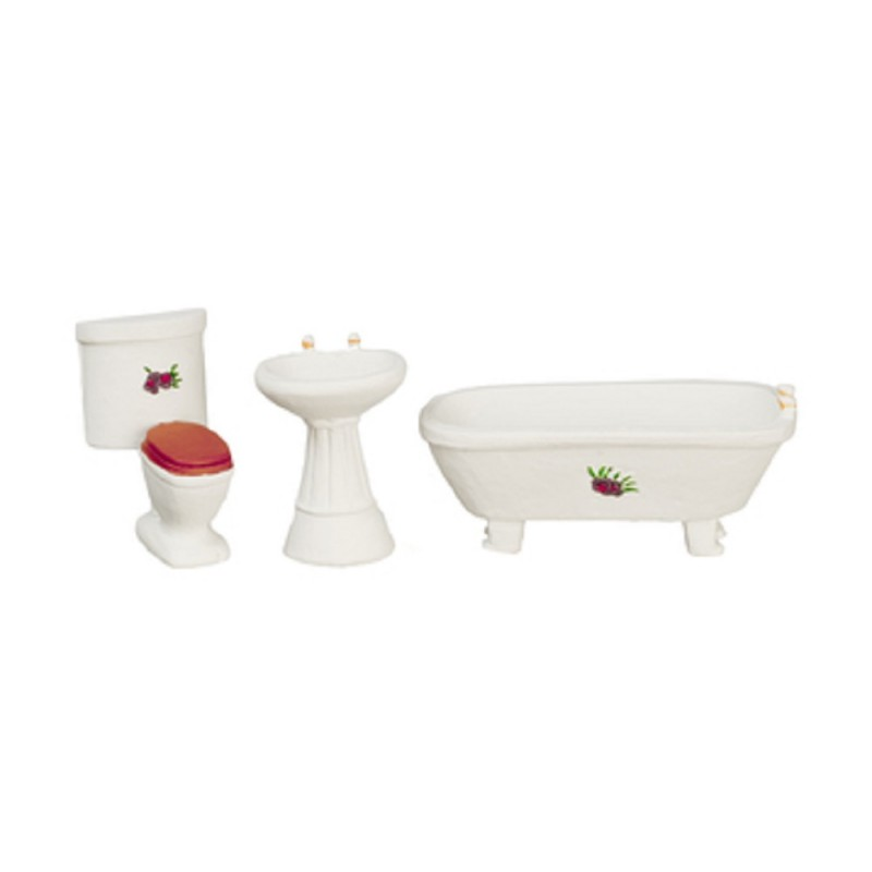 Dolls House White Bathroom Suite Furniture Set 1:24 Half Inch Scale