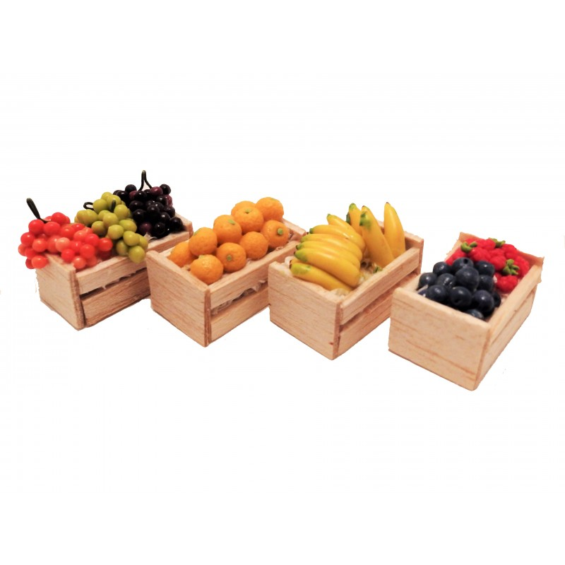 Dolls House Crates of Fruit Greengrocers Boxes Store Shop Accessory
